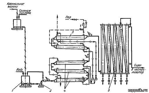 Гидролиз крахмала при производстве патоки.