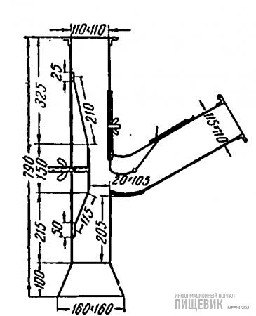 Вертикальный приемник с приспособлением для регулирования скорости воздуха