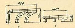 Сборные воздуховоды: а — обычные; б — упрошенной формы