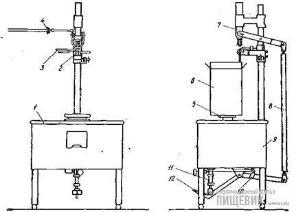 Схема автомата В2-ОРА для розлива молока в гофрохороба с двухслойным полиэтиленовым вкладышем
