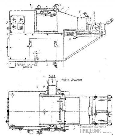 Полуавтомат М6-АУБ для групповой упаковки брикетов в картонные ящики